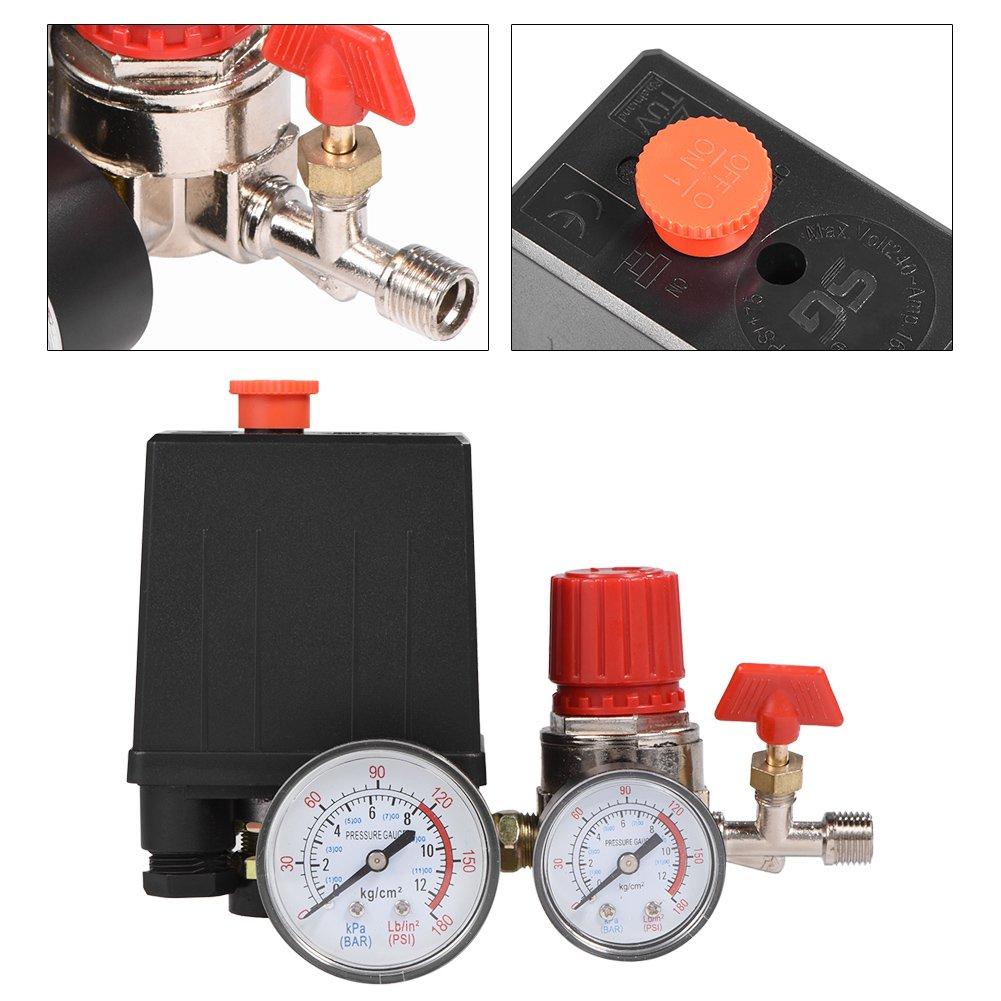 Acogedor Regulador de v/álvula de control de interruptor de presi/ón de compresor de aire peque/ño con medidores
