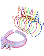 X-Mile 18 Piezas Diademas de Plástico,Unicornio Cuerno Oídos Headwear Fiara Corona Imperial