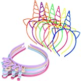 X-Mile 18 Piezas Diademas de Plástico,Unicornio Cuerno Oídos Headwear Fiara Corona Imperial,Disfraces o Fiestas Multicolor