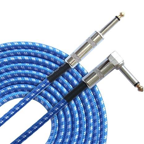 Cable de guitarra eléctrica Aolvo de 3 m, cable de instrumentos de bajo con cable