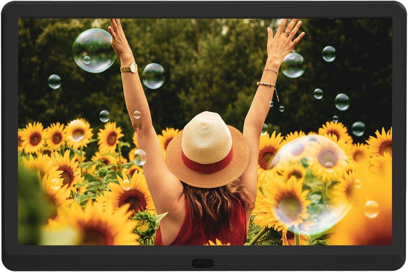 Marco digital de 10 pulgadas, marco de fotos digital 1920 x 1080 de alta resolución, Full HD IPS pantalla, foto/música/vídeo del reproductor, calendario, despertador, con mando a distancia, idioma italiano: Amazon.es: Electrónica