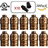 CoxLED Industrial E26/E27 Screw Bulbs Medium Light Socket Metal Shell Edison Vintage Pendant Lamp Retro Holder For DIY Lamp Socket And Fixture Replacement 10 Pack(Copper)