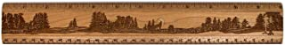 "product image for 12"" Solid Cherry Wood Artisan Ruler - Wolf Howling at Full Moon - Measures Inches & Centimeters - Made in USA"