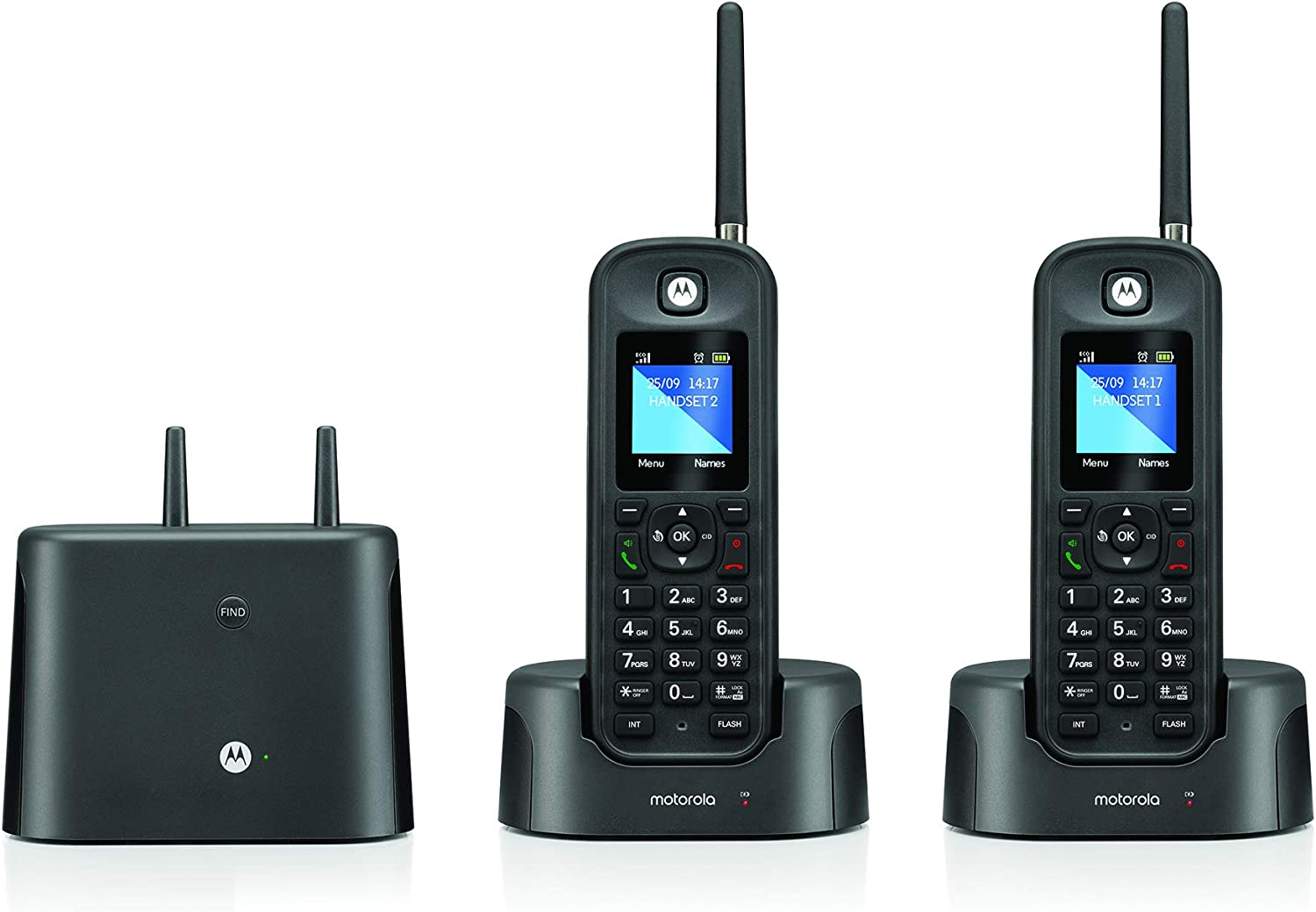 Motorola O212 DECT 6.0 Long Range Cordless Phone, Water & Dust Resistant, IP67 Certified, Black, 2 Handsets