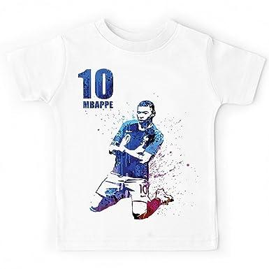 3ca8802549e4e fashion boutik Tee Shirt Maillot garçon Enfant Foot Football Coupe du Monde  mbappé Numero 10 (