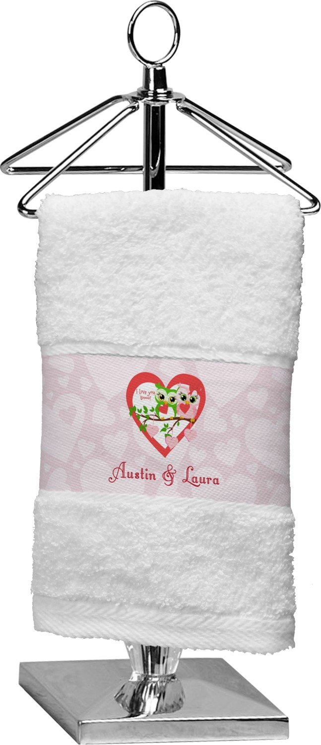 RNK Shops Valentine Owls Finger Tip Towel (Personalized)