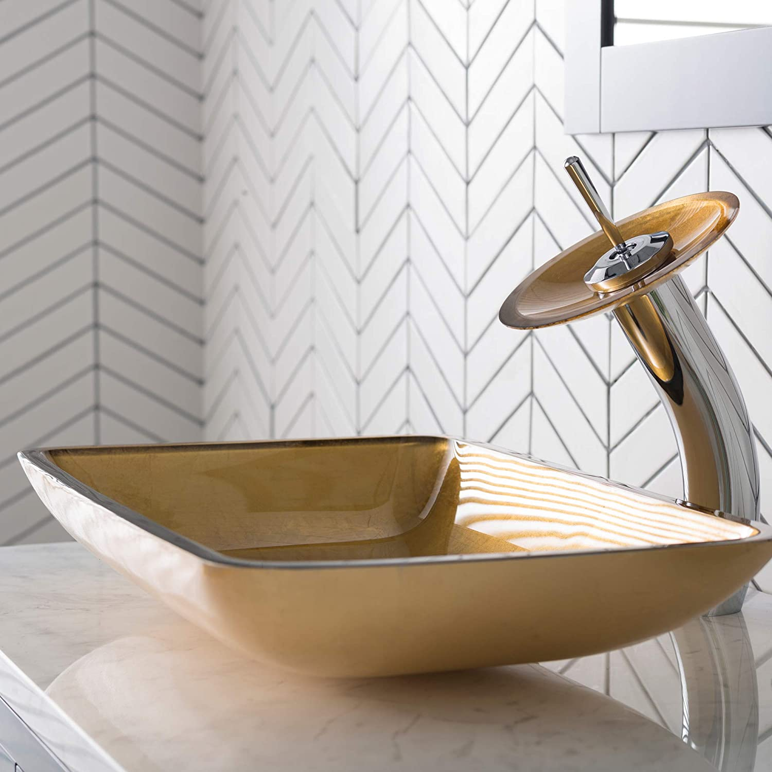 Kraus C-GV-580-12mm-10ORB Copper Illusion Glass Vessel Sink and Waterfall Faucet Oil Rubbed Bronze