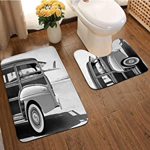 Old Woodie Station Wagon with Surfboard,Bathroom Rugs Luxur Bath Mat,Super Absorbent Non-Slip Bath Mats Wood Material