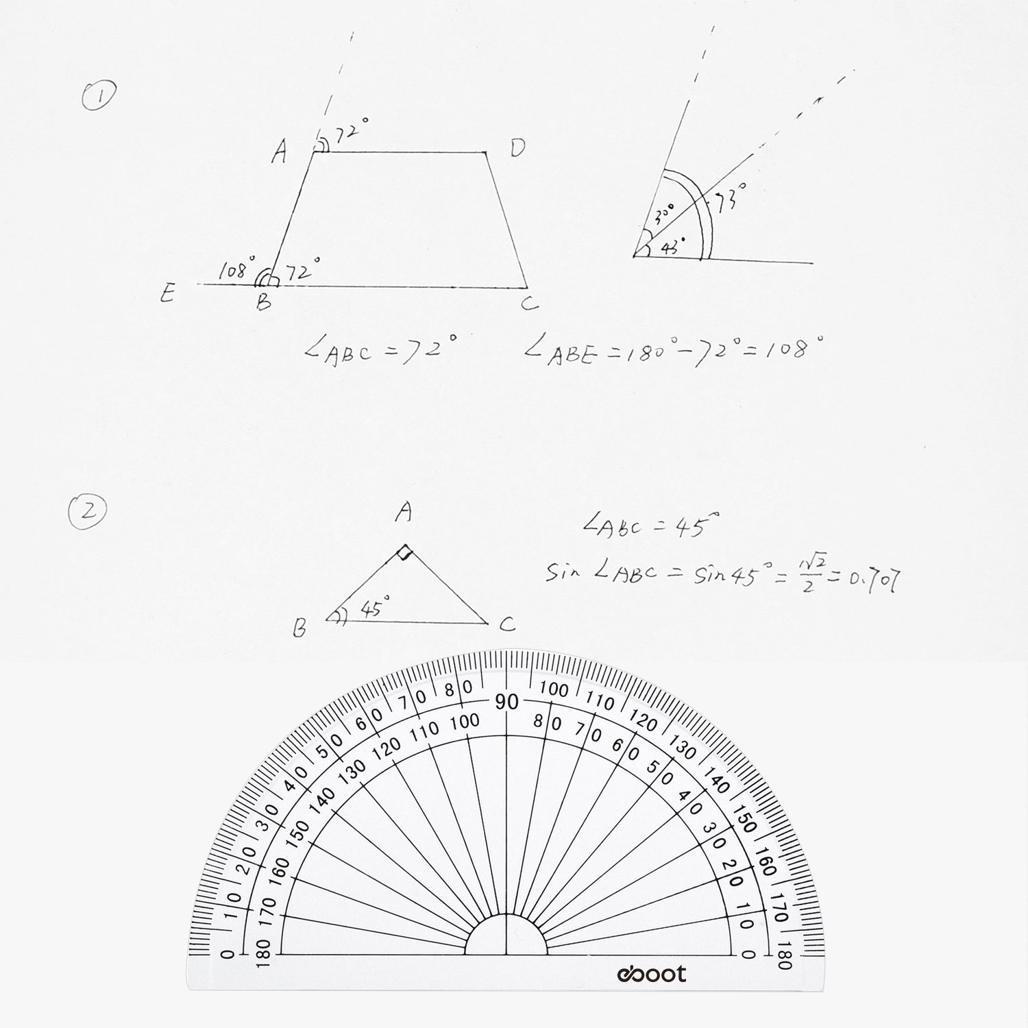 eBoot 28 Pack Clear 180 Degree Plastic Protractors for Angle Measurement, 10 cm by eBoot (Image #5)