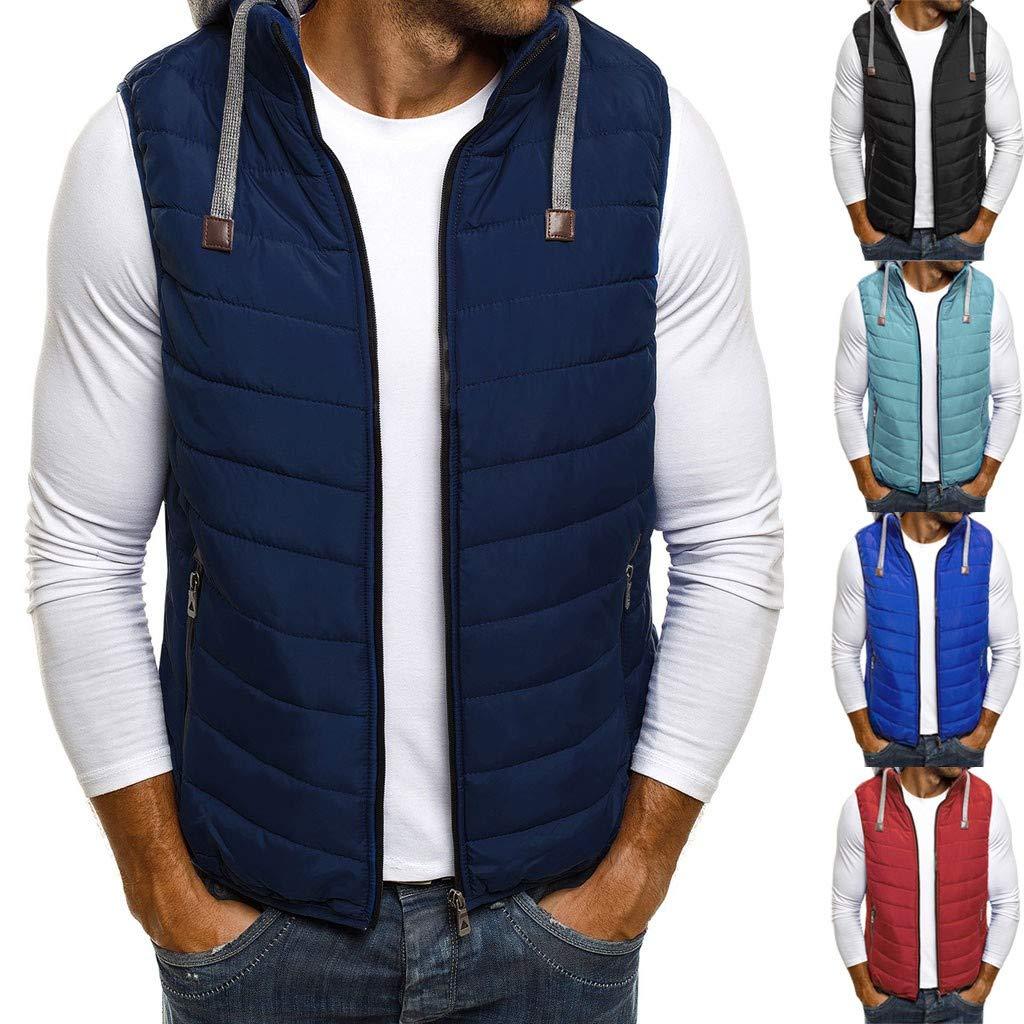 DENGZI Gilet Homme Mode Automne Hiver Gilet Zipper Top Manteau de Couleur Pure Bleu-cordon de Serrage