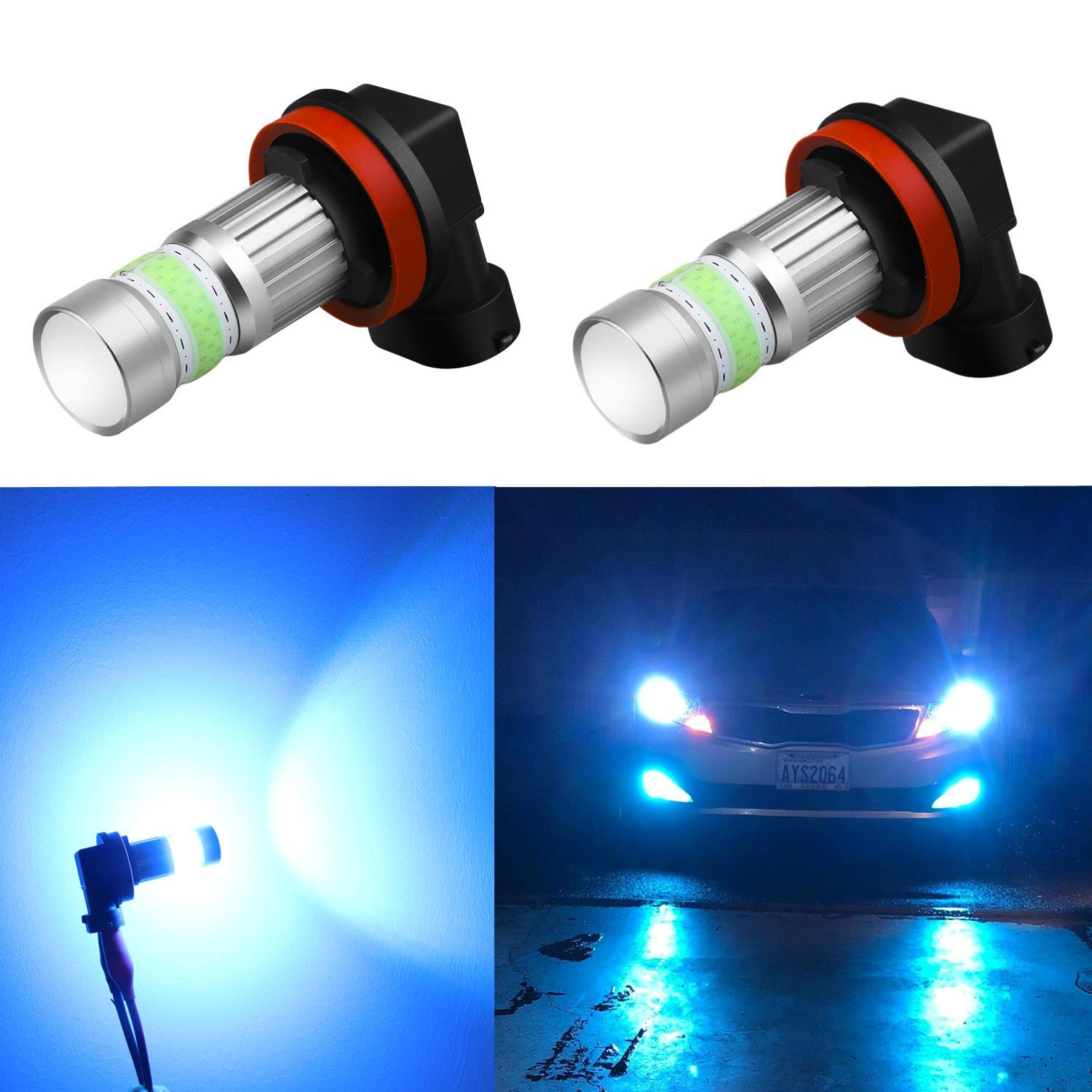 Alla Lighting H16 LED Fog Lights Bulbs 8000K Ice Blue 2800lm Xtreme Super Bright COB-72 12V H11 H8 Replacement by Alla Lighting