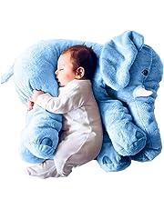 sdtdia Lindo Elefante Juguetes Blandos Animales Almohada rellena Elefante Gris Felpa bebé Almohada Pals cojín de Peluche de Juguete para niños (Azul, 60CM)
