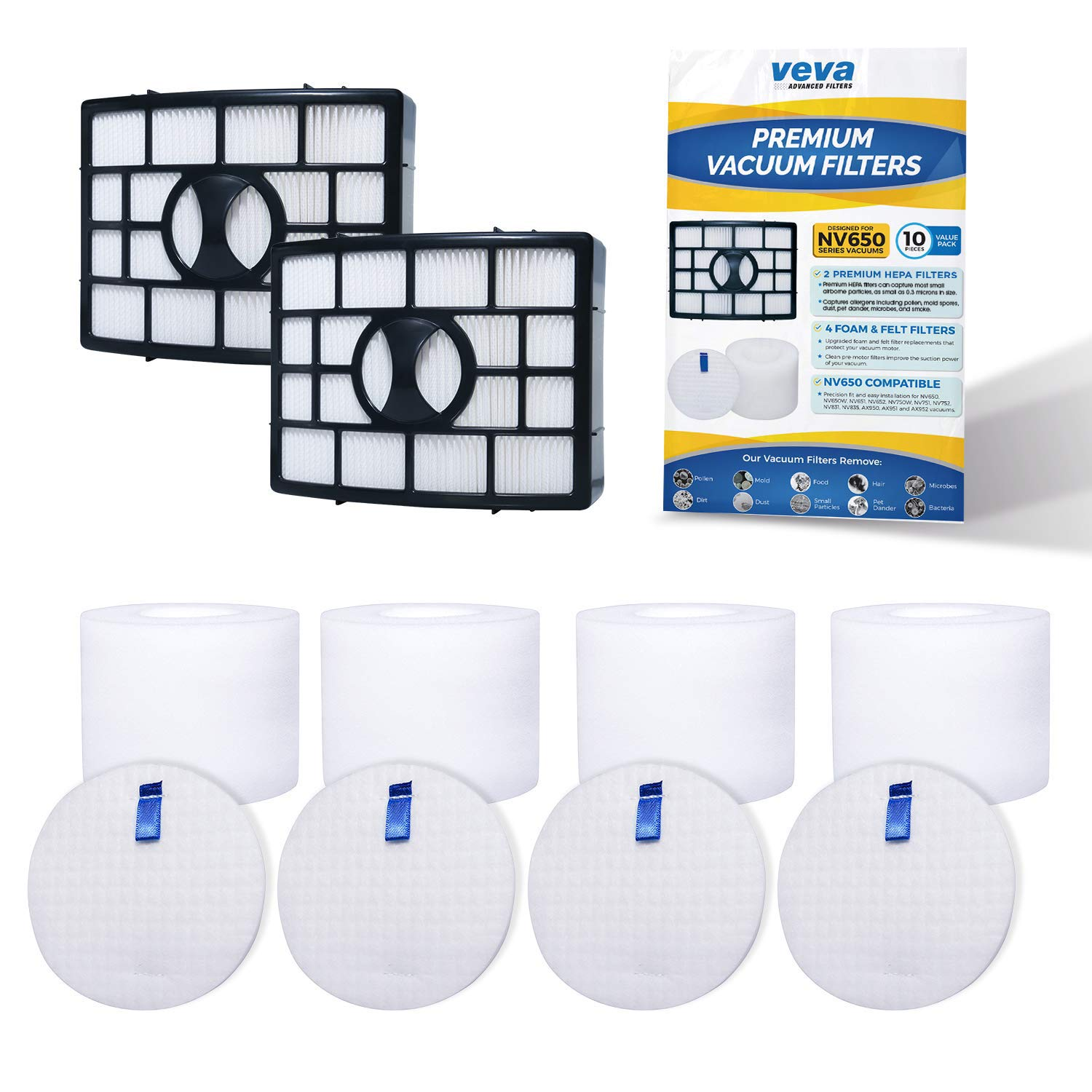 VEVA Premium Vacuum Filter Set with 2 HEPA, 4 Foam, 4 Felt Filters for Shark Rotator Navigator Duoclean Lift-Away Upright Model NV650, 650W, 651, 652, 750W, 751, 752, 831, 835; AX950, 951 & 952