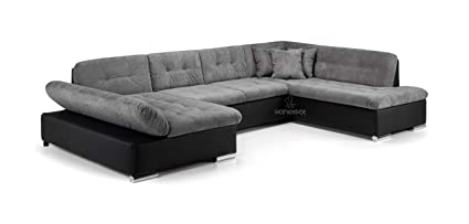 Honeypot Furniture - Sofa - Bergen - Corner - Sofa bed - Storage - Faux  Leather/Fabric (Black/Grey, Right Hand Corner)