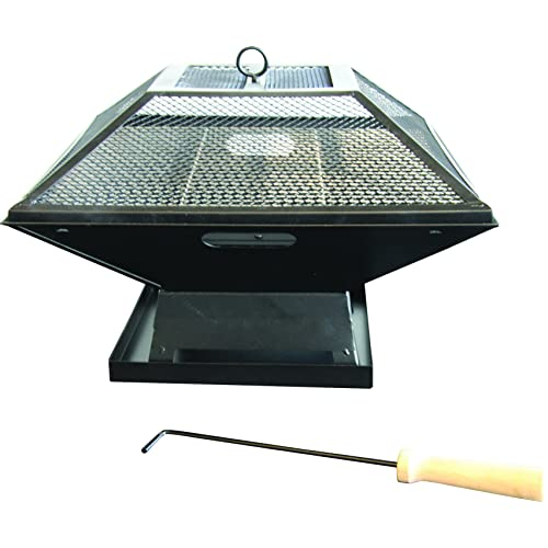 Redwood BB-CH713 Square Fire Pit with BBQ Grill