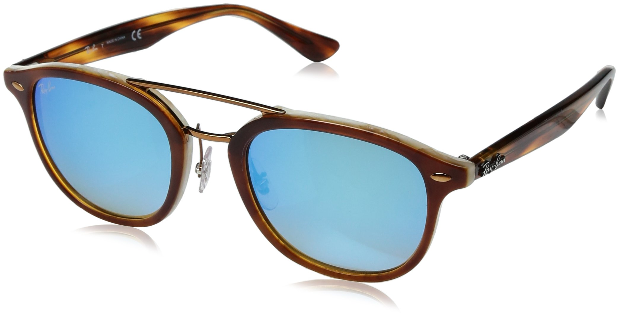 Ray-Ban Acetate Unisex Non-Polarized Iridium Square Sunglasses, Top Havana Brown/Honey, 53 mm