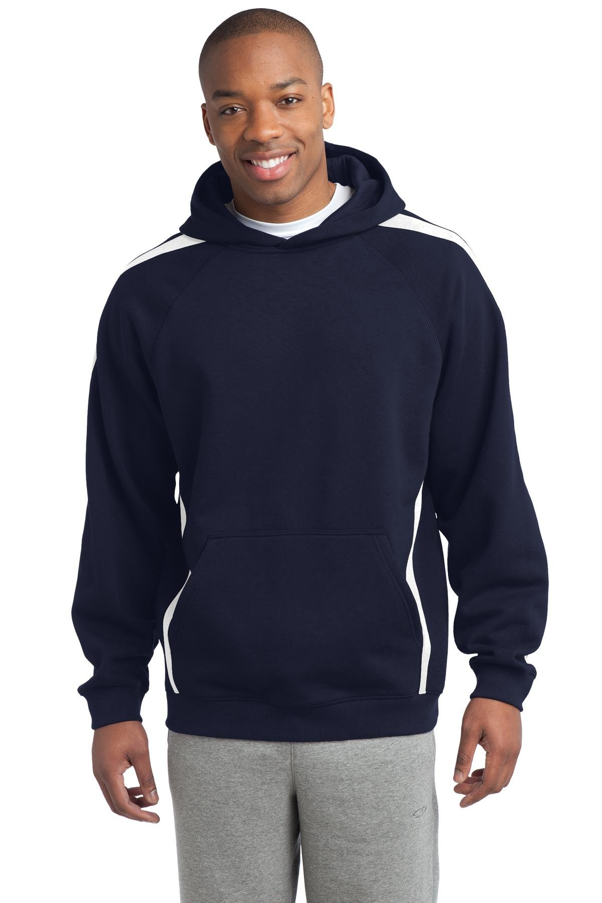 Sport-Tek Men's Sleeve Stripe Pullover Hooded Sweatshirt XS True Navy/White by Sport-Tek