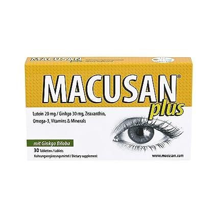 Macusan Plus comprimidos para la degeneración macular relacionada con la edad AMD | luteína zeaxantina ginkgo