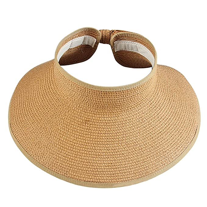 ea8bb89fae60e Xshop X Shop Women Foldable Roll Up Wide Brim Sun Visor Beach Straw Hat -Beige
