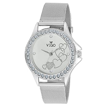 aeee34b8ed9 Buy VEGO Analogue Silver Heart Shaped Dial for Women - AGF1003 Online at  Low Prices in India - Amazon.in