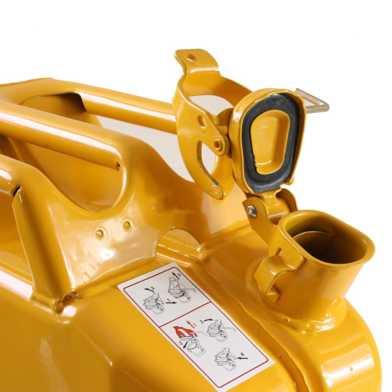 20 Liter Kanister gelb mit Halterung und Sicherungsstift Stahlblechkanister Set
