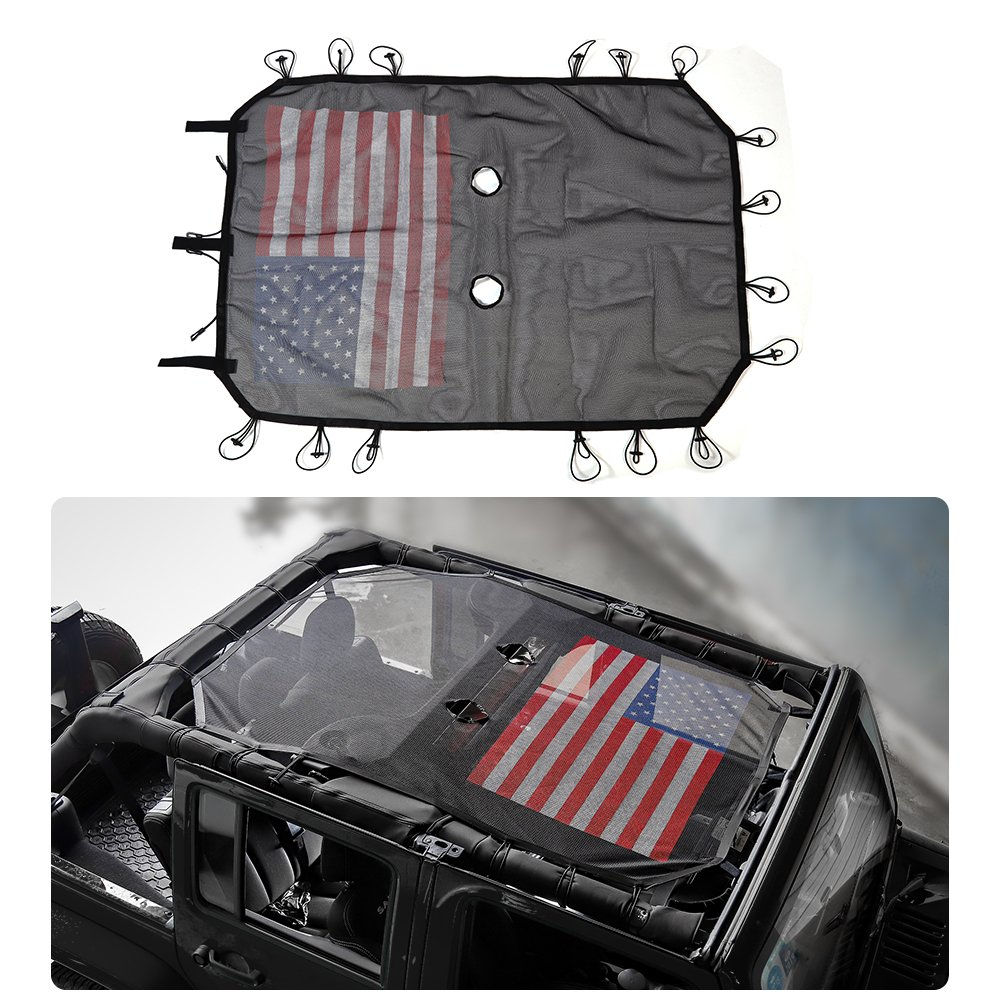 JeCar Jeep Wrangler Mesh Shade Top Cover Provides UV Protection for Front Passengers 4-Door JK or JKU (2007-2017) American flag