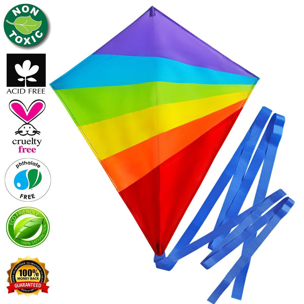 Kite Large Flying Kites Kit for Kids with String Handle (NEW Edition) - Fly Big Easy Diamond Rainbow High Flyer - FREE Extra Gift (Ebook) - Best Gift: Beach Summer Runner Toy for Children Travel Size by Imaginesty