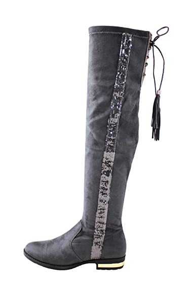 01b696157eb New Womens Thigh High Over The Knee Boots Low Heel Lace Up Sequin Flat Shoes  (