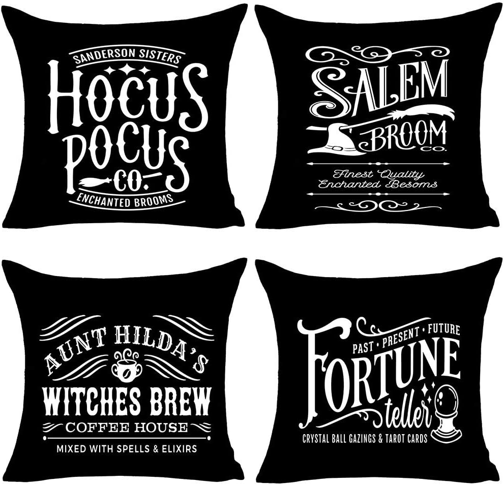 MFGNEH Hocus Pocus Halloween Pillow Covers 18x18 Set of 4,Halloween Decorations Witches Brew Cotton Linen Cushion Covers,Halloween Decor,Fall,Black