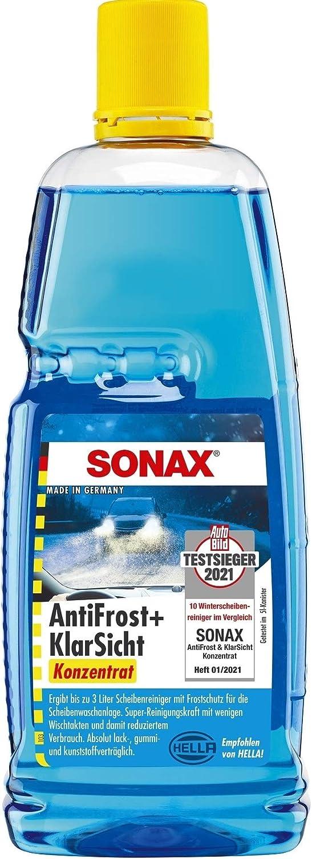Sonax Antifrost Klarsicht Konzentrat 1 Liter Ergibt Bis Zu 3 Liter Winter Scheibenwaschwasser Sofort Mischbereit Schlierenfrei Antikalk Effekt Art Nr 03323000 Auto