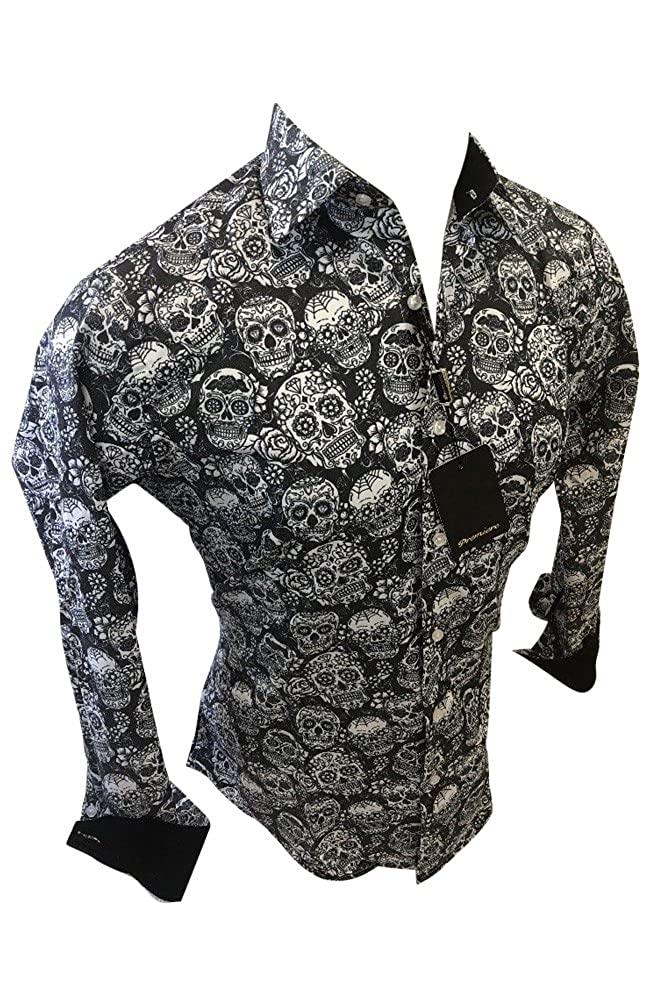 9a921ee9f7fb Premiere Mens Long Sleeve Button Down Designer Dress Shirt Black White  Abstract Skull 127 at Amazon Men s Clothing store