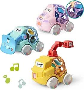ZMZS بيبي راتل رول سيارة للأطفال الصغار ألعاب الأطفال الرضع 6 12 18 شهرًا للفتيات هدية أولى مع مطاط ناعم 3 قطع سيارة دفع لسنة واحدة 2 سنة