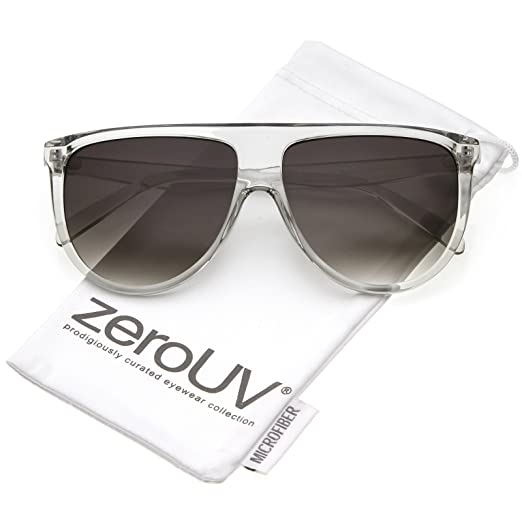 67d380e20827 zeroUV - Modern Oversize Flat Top Neutral Color Flat Lens Aviator Sunglasses  59mm (Clear
