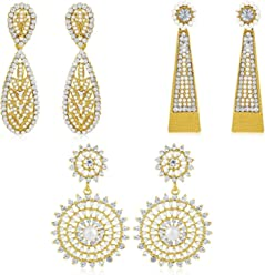 Sukkhi Copper Stud Earrings for Women (Golden) (CB70113GLDPD1400)