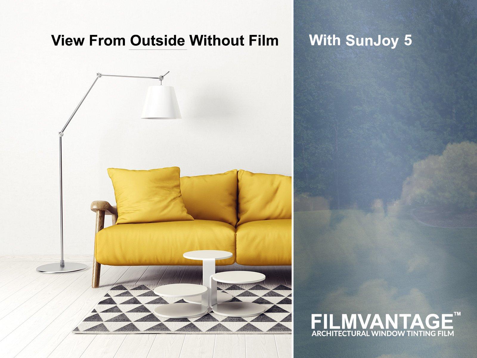 SunJoy 5 One Way Mirror Privacy Home Commercial Window Tint Film Solar UV Heat Control - 48 Inch By 10 Feet