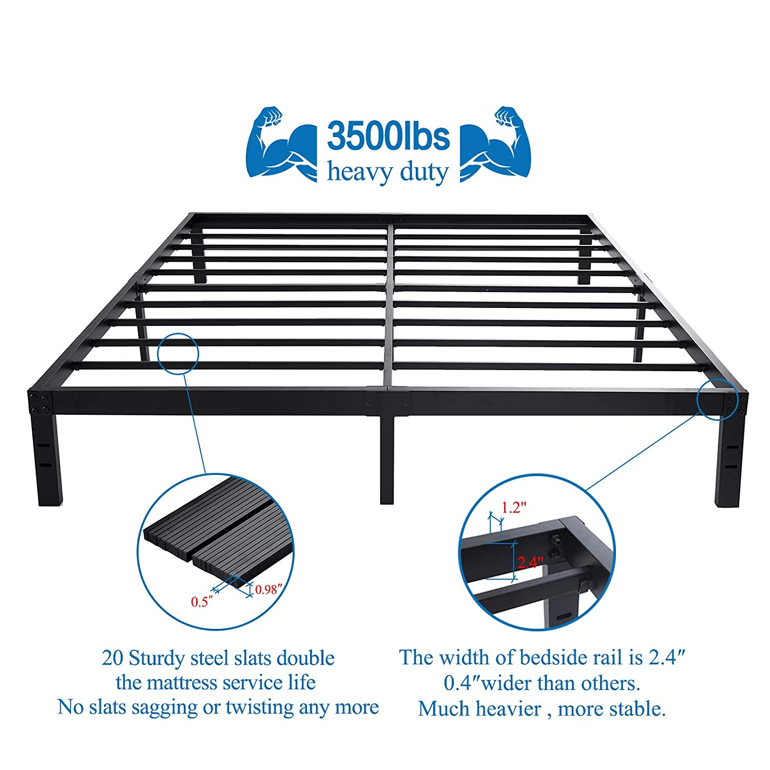 HOMUS 14 Inches Steel Slat Platform Bed Frame Heavy Duty and Easy Assembly Mattress Foundation Noise-Free Box Spring Replacement King