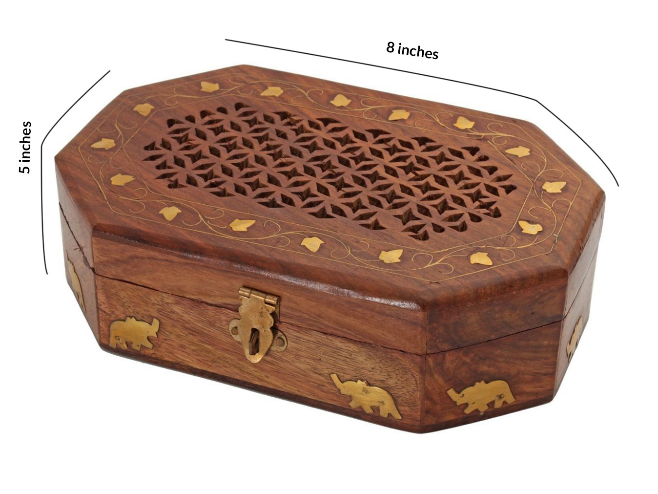 Thanksgiving Box Jewelry Keepsake Trinket Organizer Hand Carved Wooden Organizer with Intricate Carvings by Store Indya by storeindya (Image #2)