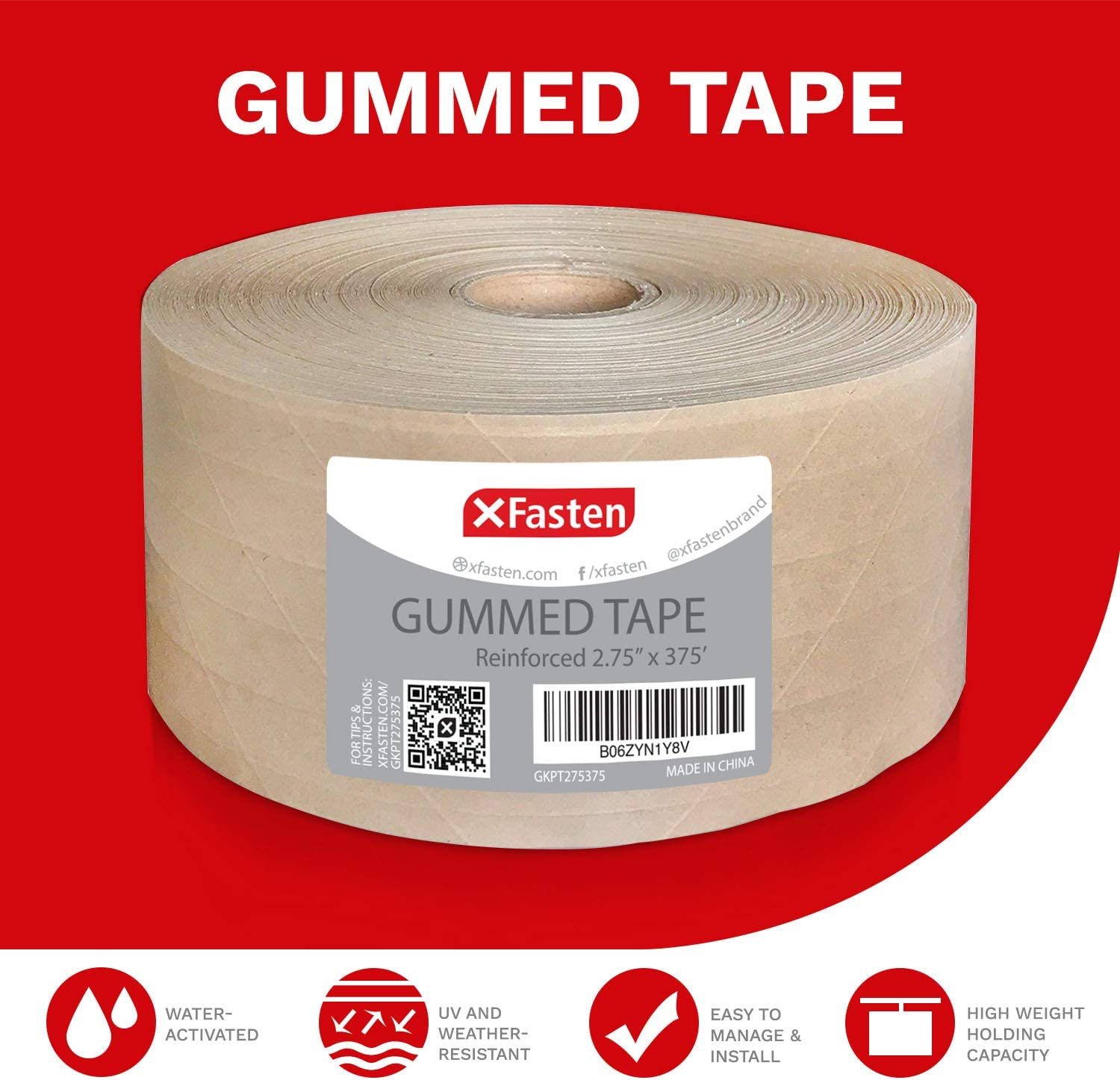 XFasten Reinforced Gummed Kraft Paper Packing Tape Water Activated Brown Carton Box Packing and Sealing Tape for Mailing and Moving with Fiberglass Backing 2.75 Inches x 375 Feet