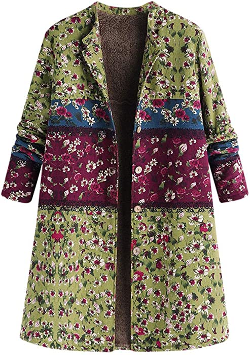 Linlink para Mujeres Chaqueta cálida de Invierno Caliente botón con Estampado Floral Bolsillo Extragrande retrode impresión Vintage Oversize Abrigo
