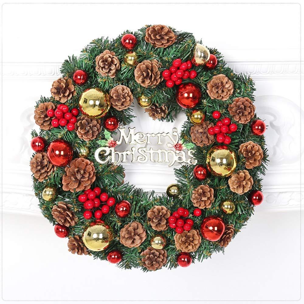 VISUNION Christmas Wreath, Merry Christmas Decorated,Christmas Rattan Connect Power Lighting Wreath Pineal Cherry Green Decoration,12 Inch
