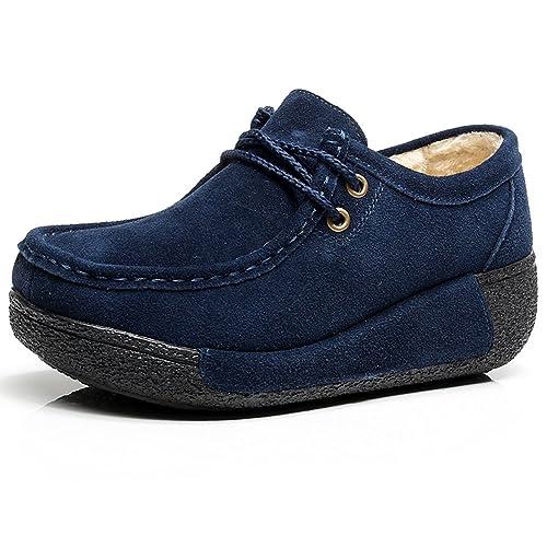 Shenn Mujer Zapatos Invierno Cálido Plataforma Con La Piel Tacón Cuña Gamuza Zapatillas De Moda: Amazon.es: Zapatos y complementos