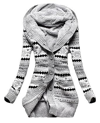 Minetom Mujer Invierno Lana De Punto Botón Jerséis Outwear Suéter Cárdigan Túnico Sudaderas Con Capucha Prendas De Punto Abrigos: Amazon.es: Ropa y ...
