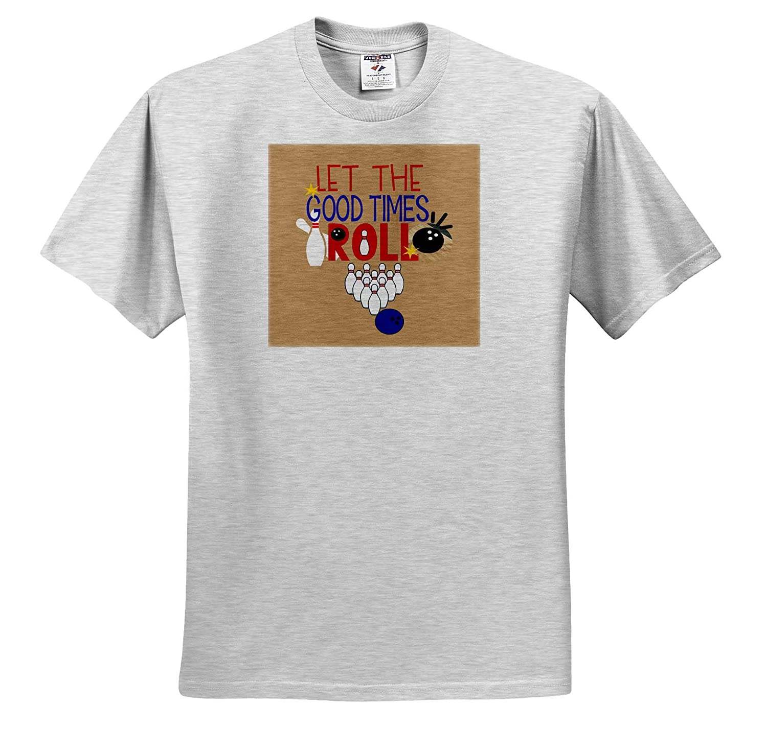 ts/_313488 Typography Adult T-Shirt XL Let The Good Times Roll with Bowling 3dRose Sandy Mertens Sports Designs