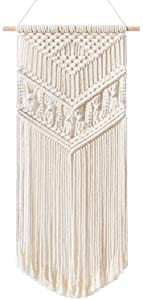 """Mkono Macrame Wall Hanging Handmade Bohemian Chic Woven Tapestry Home Art Decor for Apartment Dorm Room Bedroom Party Wedding Wall Decoration Christmas Ornament, 13"""" W x 28"""" L"""