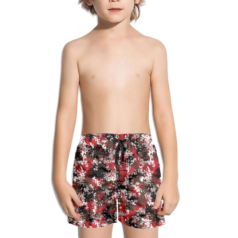 Red Urban camo srtings Printed Side Split Swimming Trunks Shorts