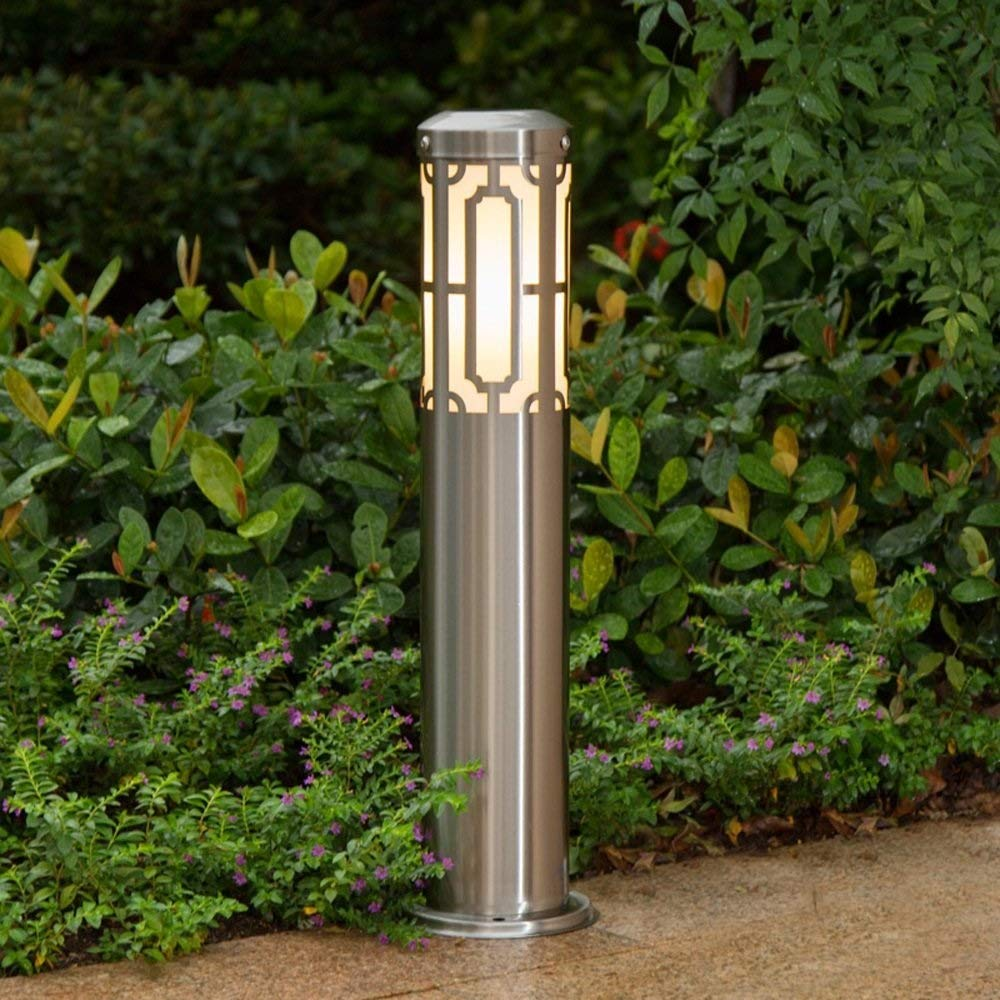 Wsxxn Outdoor Lawn Light Stainless Steel Floor Lamp Simple Modern Villa Column Lamp Post Light Patio Garden Decoration Lights Waterproof Table Light E27 Decoration Illumination