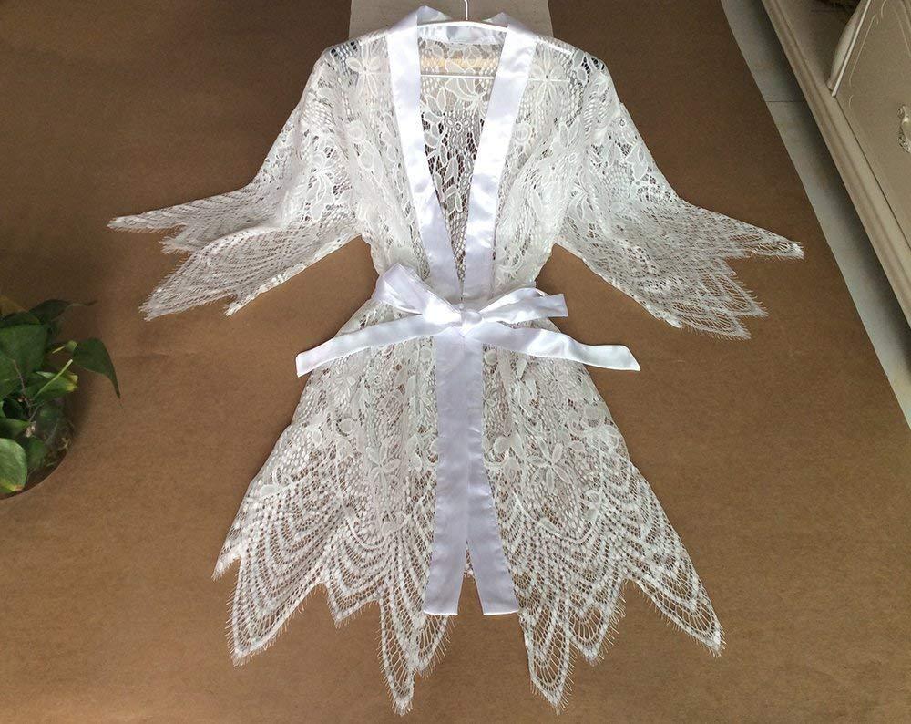 White Bridal Robe Women Kimono Robe -Bridesmaid Kimono Robe-Bridesmaid Gift-Wedding Party Bridal Party Gift With Lace Trims