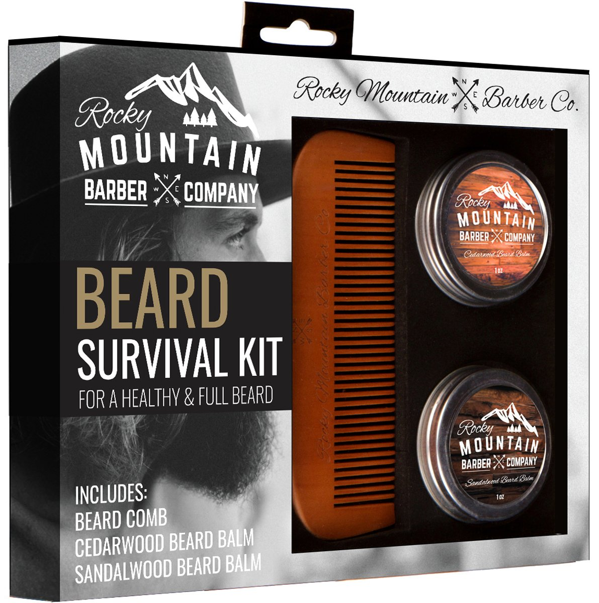 Beard Gift Set - All-In-One Beard Care Kit with Wooden Beard/Hair Comb and Two Beard Balms (Cedarwood and Sandalwood - 1oz) - Packaged in Gift Box Rocky Mountain Barber Company