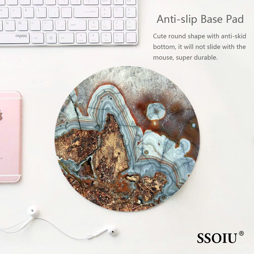 Natural Marble Stone Boho Desk Accessory Blue Agate Mousepad Marble Round Mouse Pad Gemstone Mouse Pad Precious Stone Mouse Pad Geode Mouse Pad