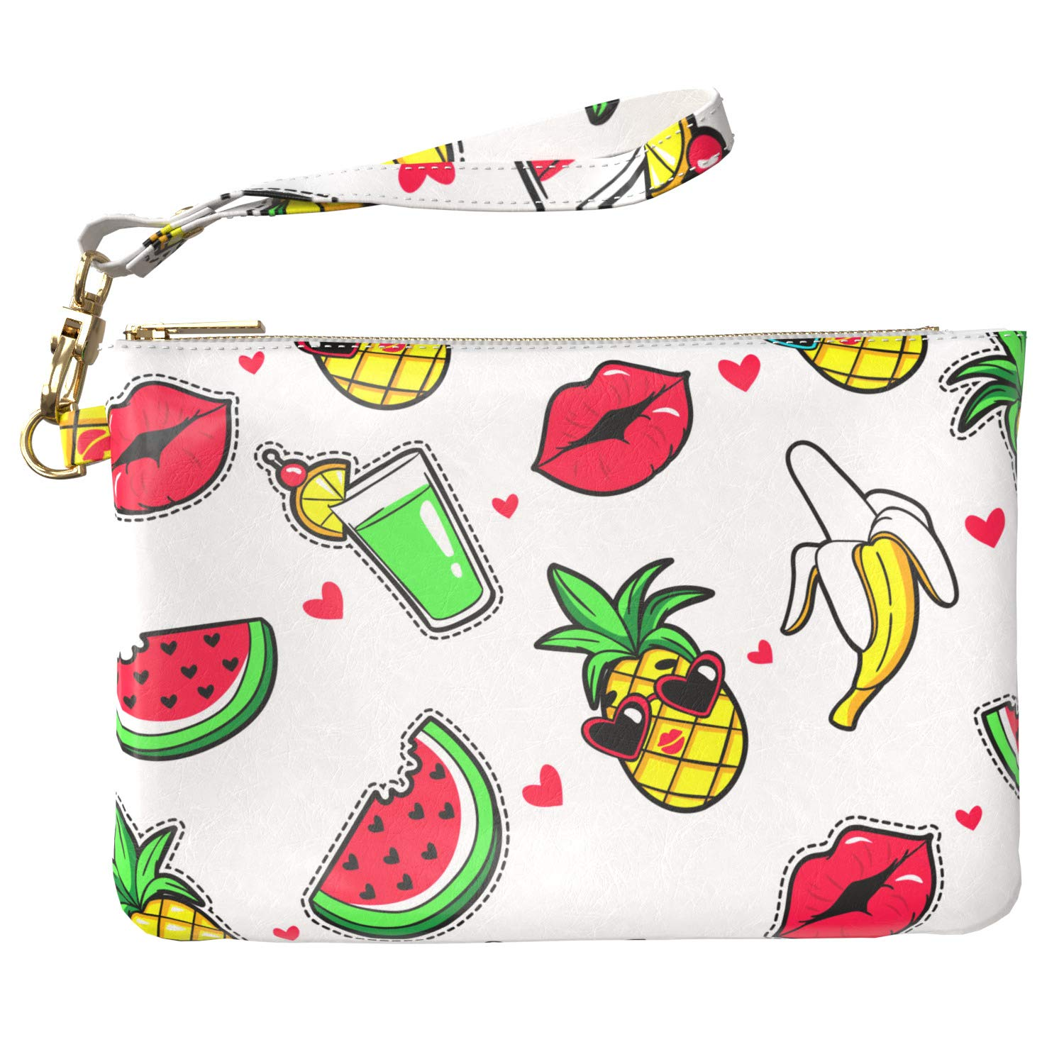 Cavka Makeup Bag 9.5 x 6 inch Purse Pouch Portable Organizer Design Bright Fruits Funny Strap Accessories Tropical Watermelon Storage Glam Print PU Leather Toiletry Zipper Travel Case Cosmetic Lips